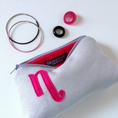 Hot Pink and Grey Linen Monogram Bag