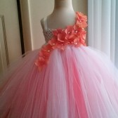 coral and white flower girl tutu dress