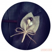 Brown Beaded Burlap Boutonniere