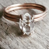 Rose gold fill Herkimer diamond ring set by Gaia\'s Candy