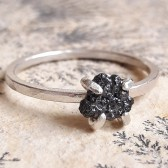 Rough black diamond and Sterling silver engagement ring by Gaia\'s Candy