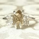 Rough citrine and quartz crystal ring by Gaia\'s Candy