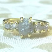 Rough diamond five stone engagement ring by Gaia\'s Candy