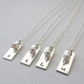 Personalized Bar Necklace with Pearl
