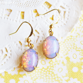 Vintage Oval Opal Earrings