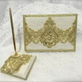 Custom handmade guest book set, guest book, gold guestbook, signing book, wedding book