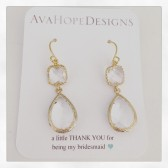 bridesmaid earrings, bridesmaid gifts, gold earrings, clear earrings