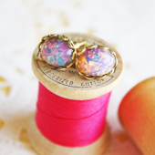 Gold Pink Opal Earrings