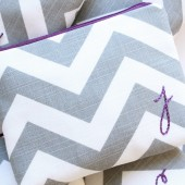 Monogram Cosmetic Bags, Purple and Grey