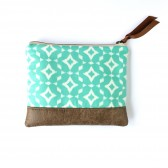 Mint Ikat Clutch with Faux Leather Trim