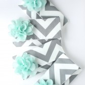 Chevron Clutch, Mint and Grey
