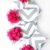 Chevron Clutch, Grey and Fuchsia