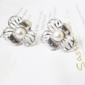 pearl stud earrings, pearl flower earrings