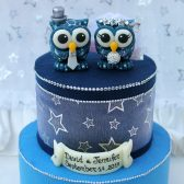 galaxy cake topper, owl cake topper, starry night cake topper, celestial wedding, astronomy wedding, bird cake topper, love birds, custom cake topper, wedding cake topper, hand made cake topper