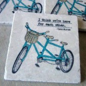 Double Bike Wedding Favor Coasters
