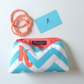 Coral and Tiffany Blue Chevron Monogram Bag
