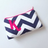 Hot Pink and Navy Chevron Monogram Bag