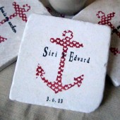 Personalized Pink Anchor Wedding Favor Coasters