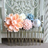 Wedding Hair Comb Peach Pink Blue Bridal Head Piece Flower Comb Bridesmaids Gift Floral Comb Shabby Chic Pastel Colors