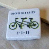 Lime Green Tandem Bike Wedding Favors and Save the Date Magnets