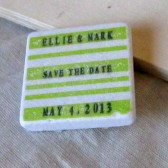 Striped Wedding Favor/Save the Date Magnet