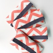 Chevron Clutch, Navy and Coral