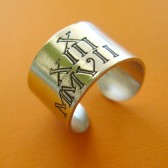 Roman Numeral ate Wide Ring