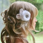 white Feather Fascinator FancieStrands