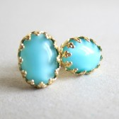 Something Blue Turquoise Earrings Gold Studs