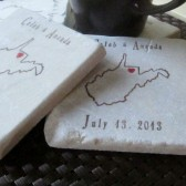 State Themed Wedding Favor Coasters