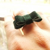 Small Leather Bow Ring