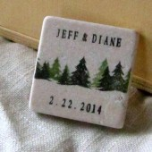 Pine Tree Wedding Favor Magnets