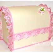 Wedding Chest Money Card Box in Ivory and Pink with a Beautiful Handmade Boutonniere and Gorgeous Lace