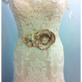 Bridal Sash / Custom Made Belt in Cream, Ivory,Tan, Champagne with Brooches, Glass Beads and Handmade Flowers
