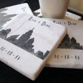 New York City Skyline Wedding Favor Coasters