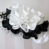 black and white satin ruffle comb