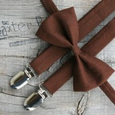 Chocolate Brown bow ties & suspenders