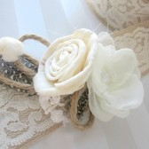 rustic sola flower, chiffon and twine sash