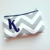 Navy & Grey Chevron Monogram Bag