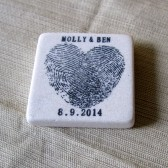 Heart Thumbprint Wedding Favor Magnets, Save the Date