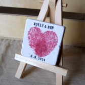 Heart Thumbprint Wedding Favor Magnets, Pink