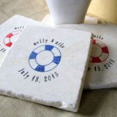 Personalized Life Preserver Wedding Favor Coasters