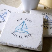 Personalized Sailboat Wedding Favor Coasters