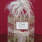 Champagne Birdcage Card Holder With Ostrich feather Art deco Style