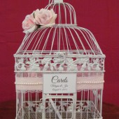Shabby Chic Birdcage Card Holder With lace and Pearls