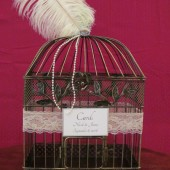 Art Deco Birdcage Card Box With Ostrich Feather and Pearls ~ Wedding Card Holder