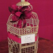 Champagne Birdcage Card Box with Red Tiger Lillies