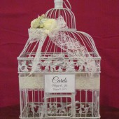 White Birdcage Card Box With Lace Vintage Style ~ Wedding Card Holder