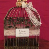 Vintage Style Birdcage Card Box with Lace and burlap