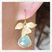 Mint Earrings, Gold Earrings, Bridesmaid Earrings, Bridesmaid Gifts